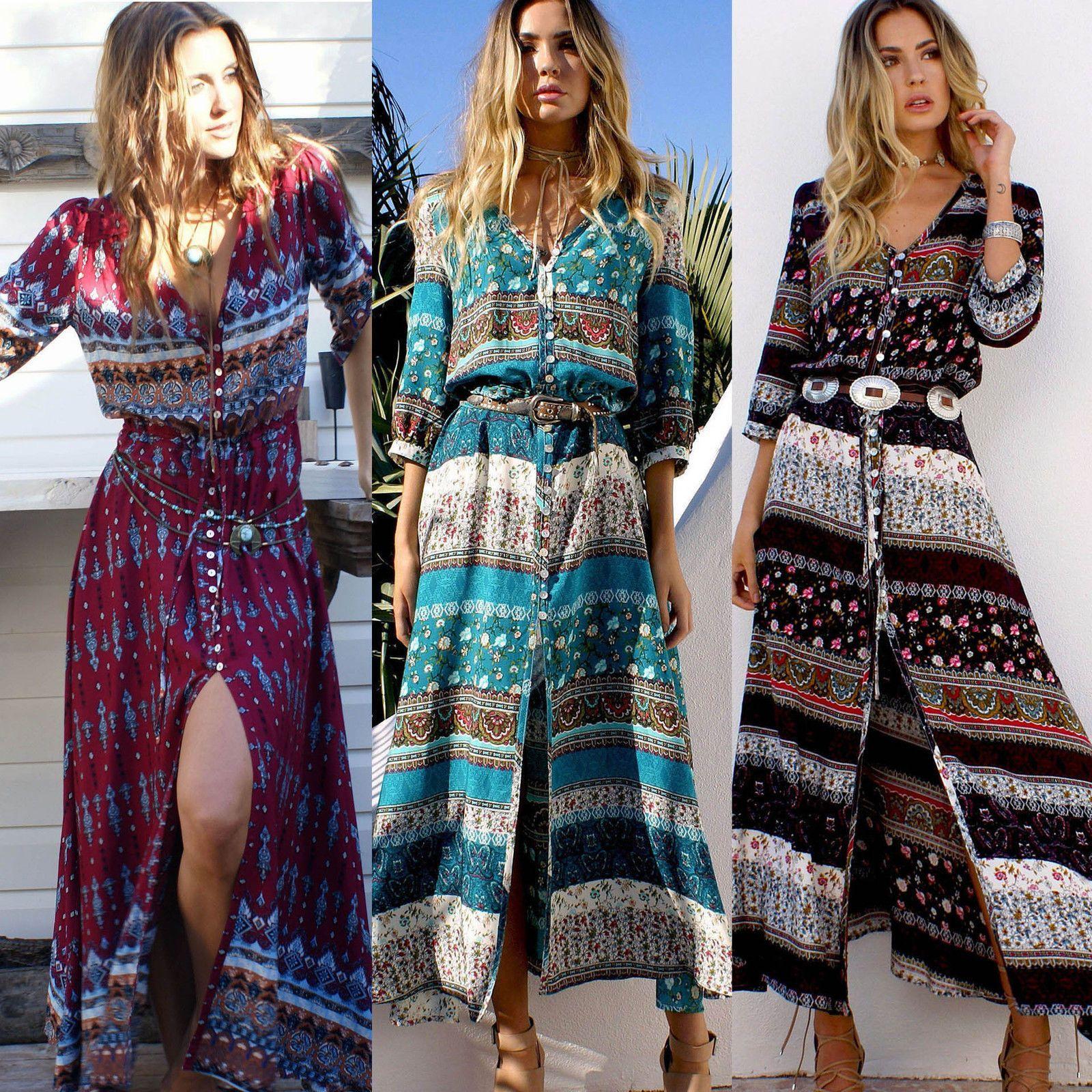 Women summer boho long maxi evening party casual beach dress vintage