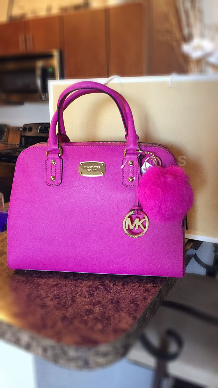 b3999558ca Pink Fuchsia Saffiano Michael Kors Purse Bag with Puff Keychain ...
