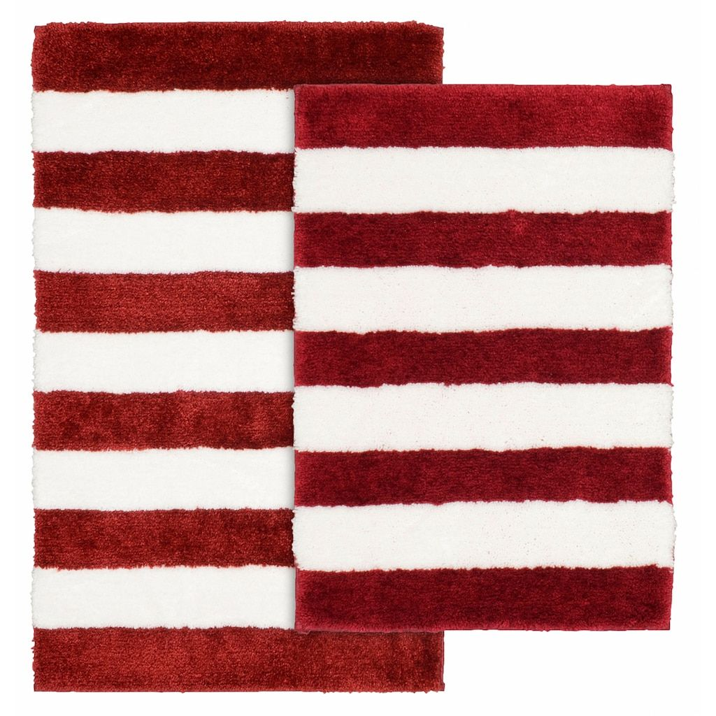 Garland Deco Beach Stripe 2 Piece Bath Rug Set Red Garland Rug