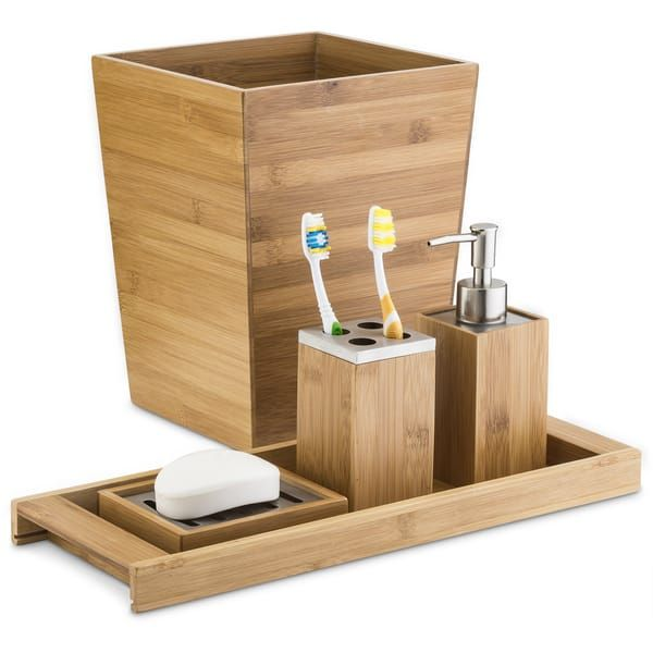 home basics brown bamboo lotion dispenser | bamboo bathroom accessories, bamboo bathroom, home