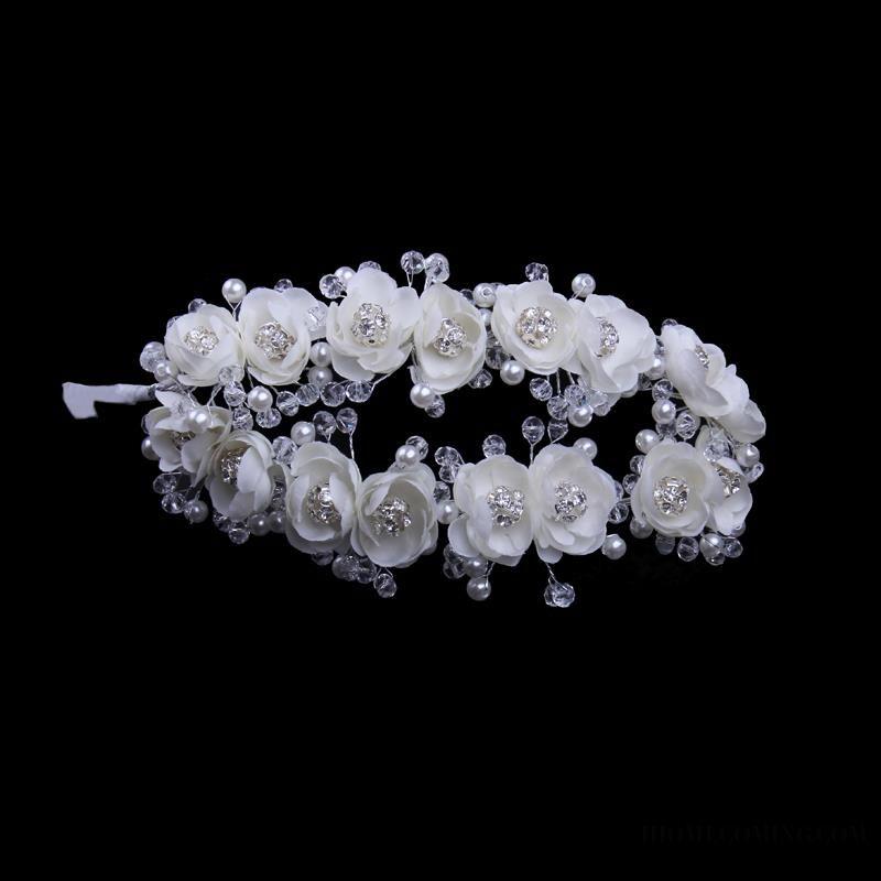 ihomecoming.com SUPPLIES Stunning Ladylike Double Row Flowers High-Grade Manual Pearl Bridal Headpiece  Hair Flowers