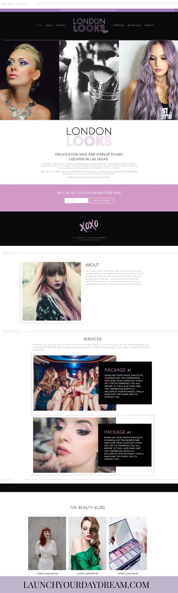 Bold edgy chic logo and custom squarespace website design