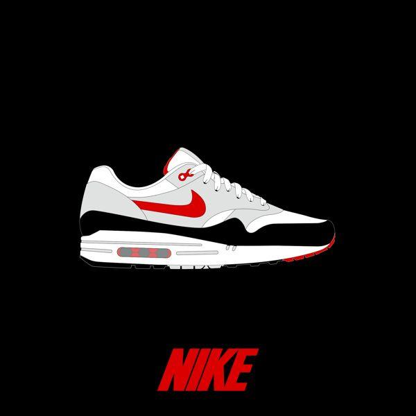 Blanc Nike Roshe Courir Vecteur Noir Swoosh