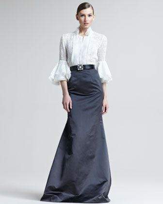 Ruffle-Sleeve Blouse & Satin Fishtail Skirt by Oscar de la Renta at Bergdorf Goodman. Channeling my inner Downton Abbey