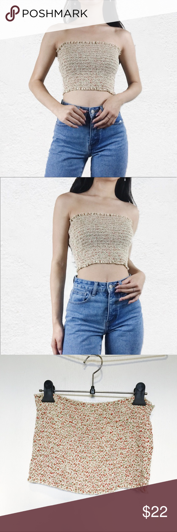 d6c389a546 Brandy Melville yellow floral Cleo tube top No flaws Brandy Melville Tops  Crop Tops
