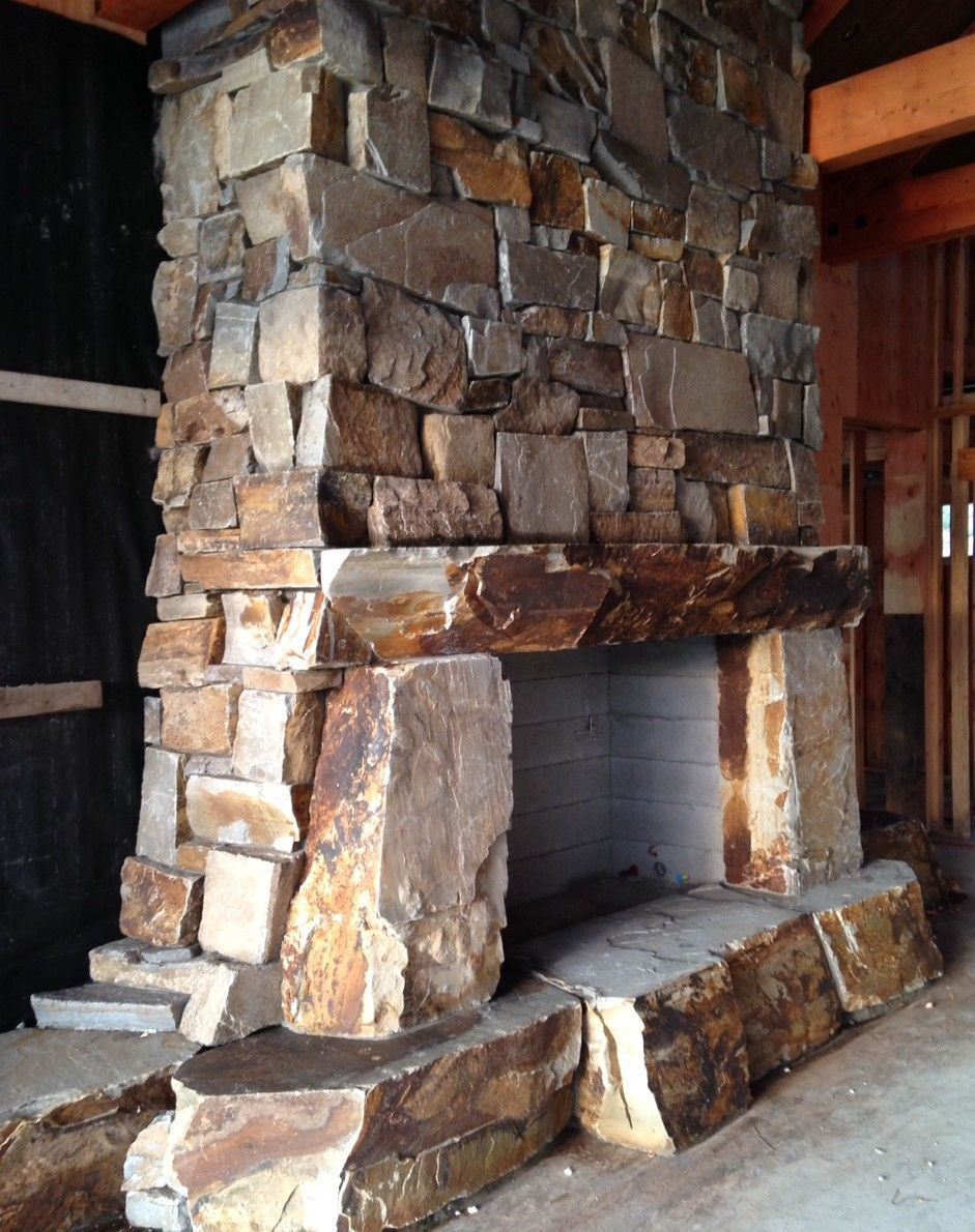 Rustic Stone Fireplace Designs | Hearths, Mantels, Sills ...