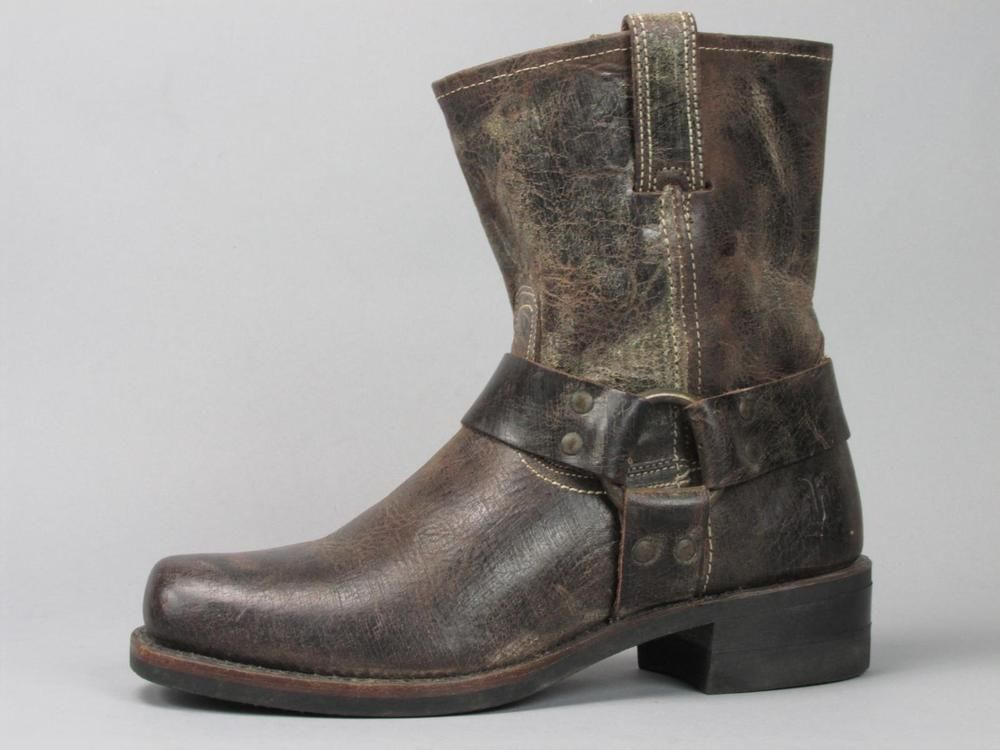 FRYE Distressed Brown Leather Harness Boots Men's size 8 M (Made ...