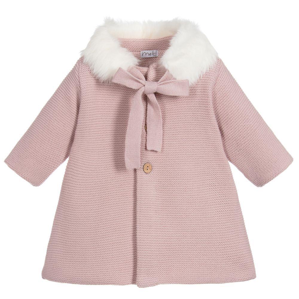 Mebi Baby Girls Knitted Pram Coat
