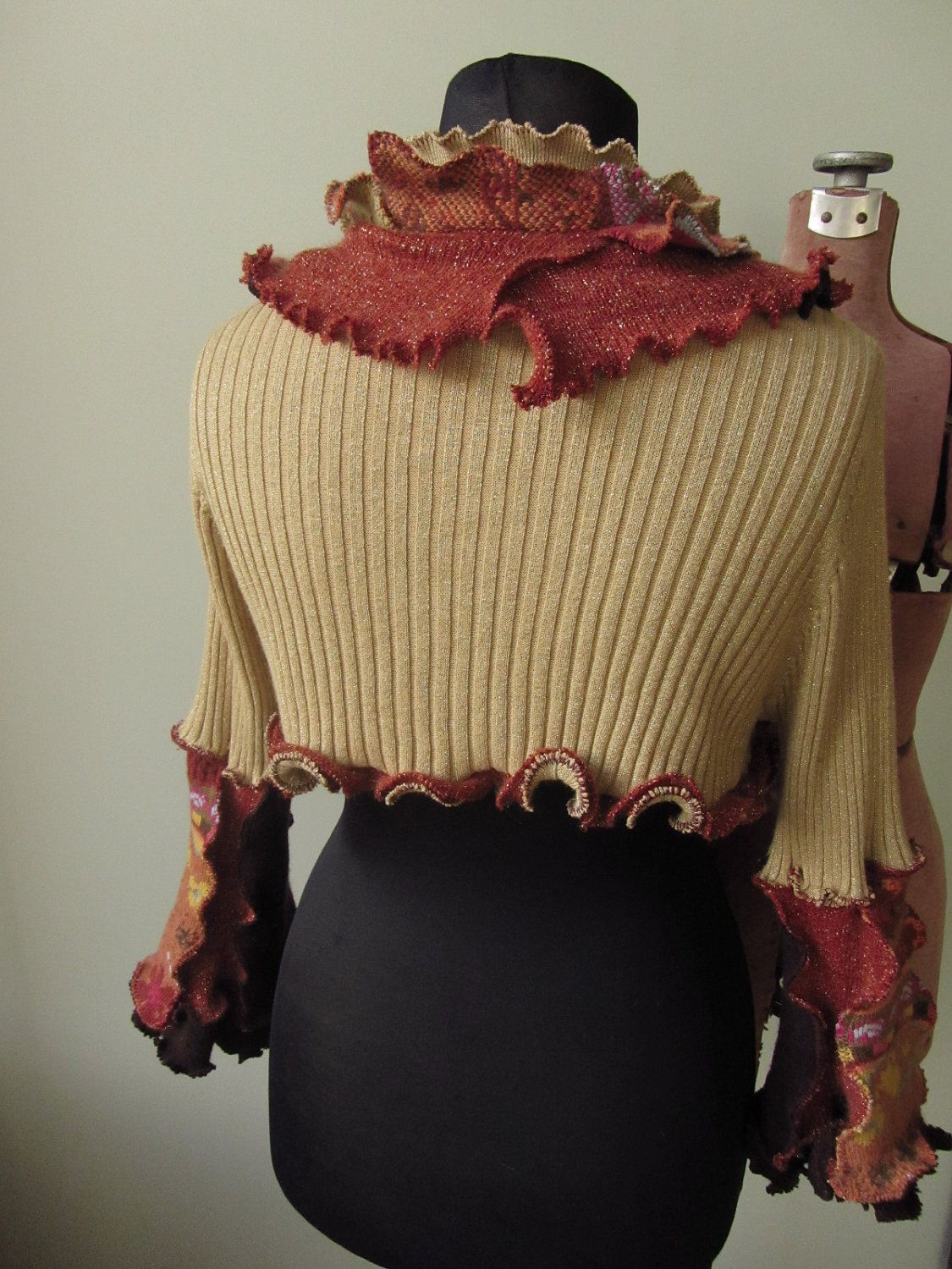 Metallic Gold Shrug Cardigan Sweater / Upcycled Clothing / Women ...