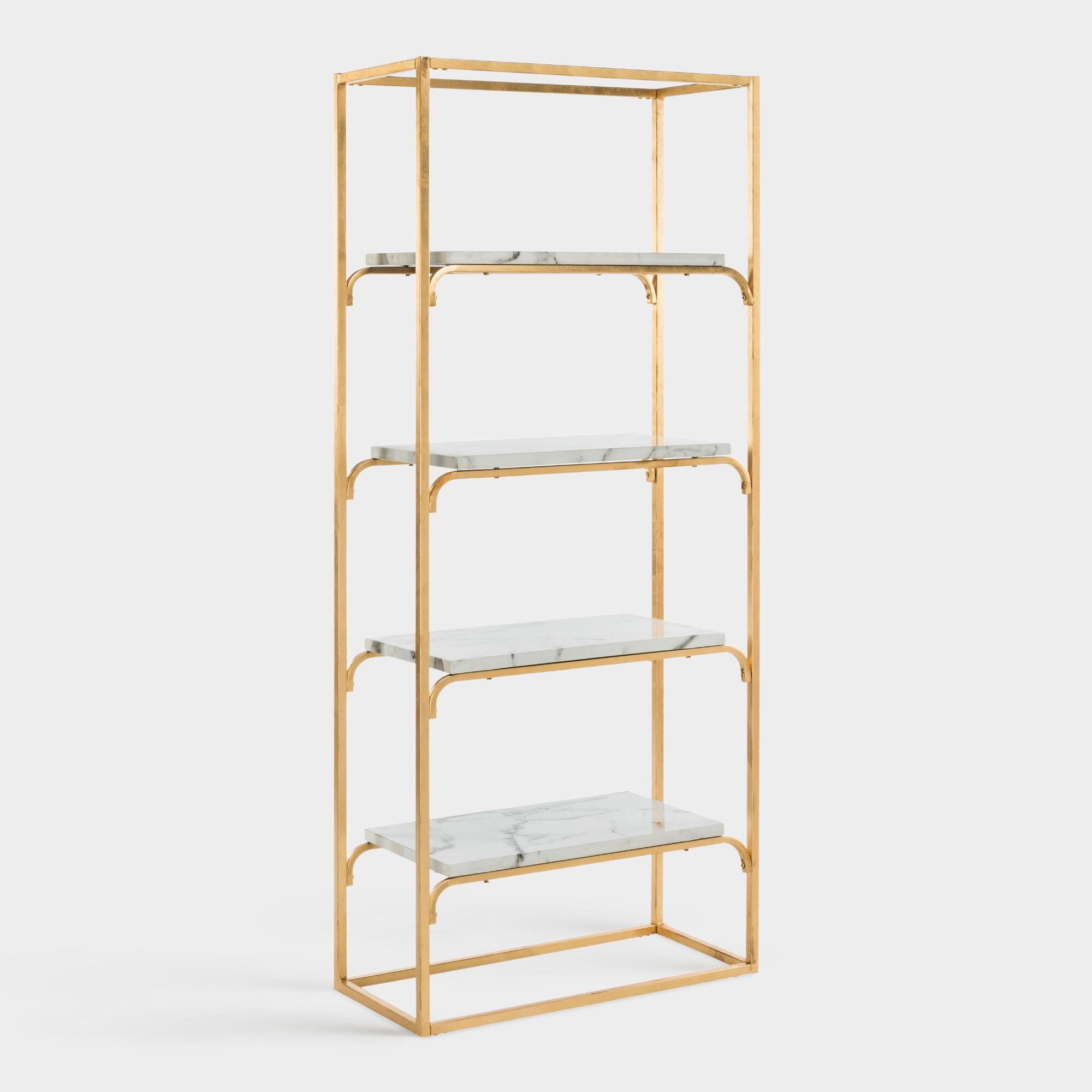 huge discount eb26f 3d6db Gold and Marble Marleau Etagere Shelf by World Market in ...