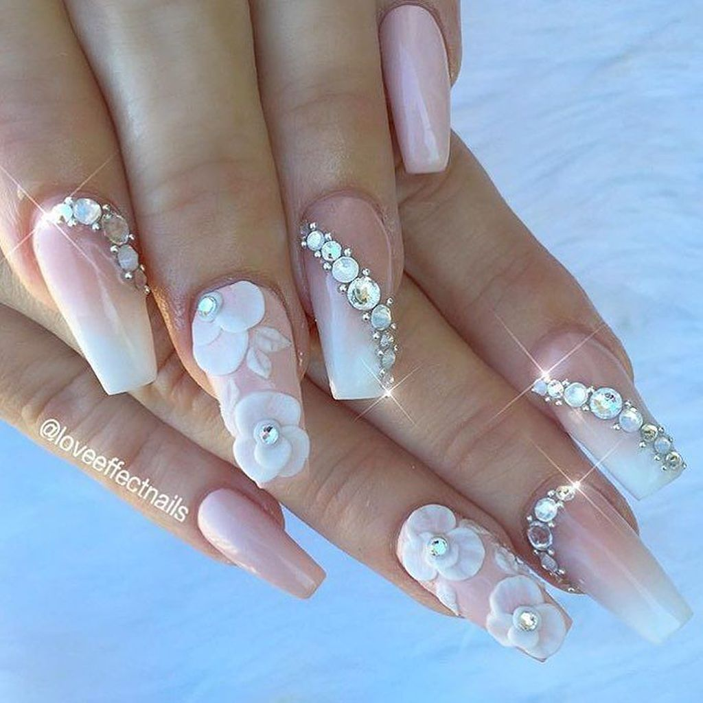 Awesome 44 Gorgeous Wedding Nail Art Ideas For Brides Fashioomo