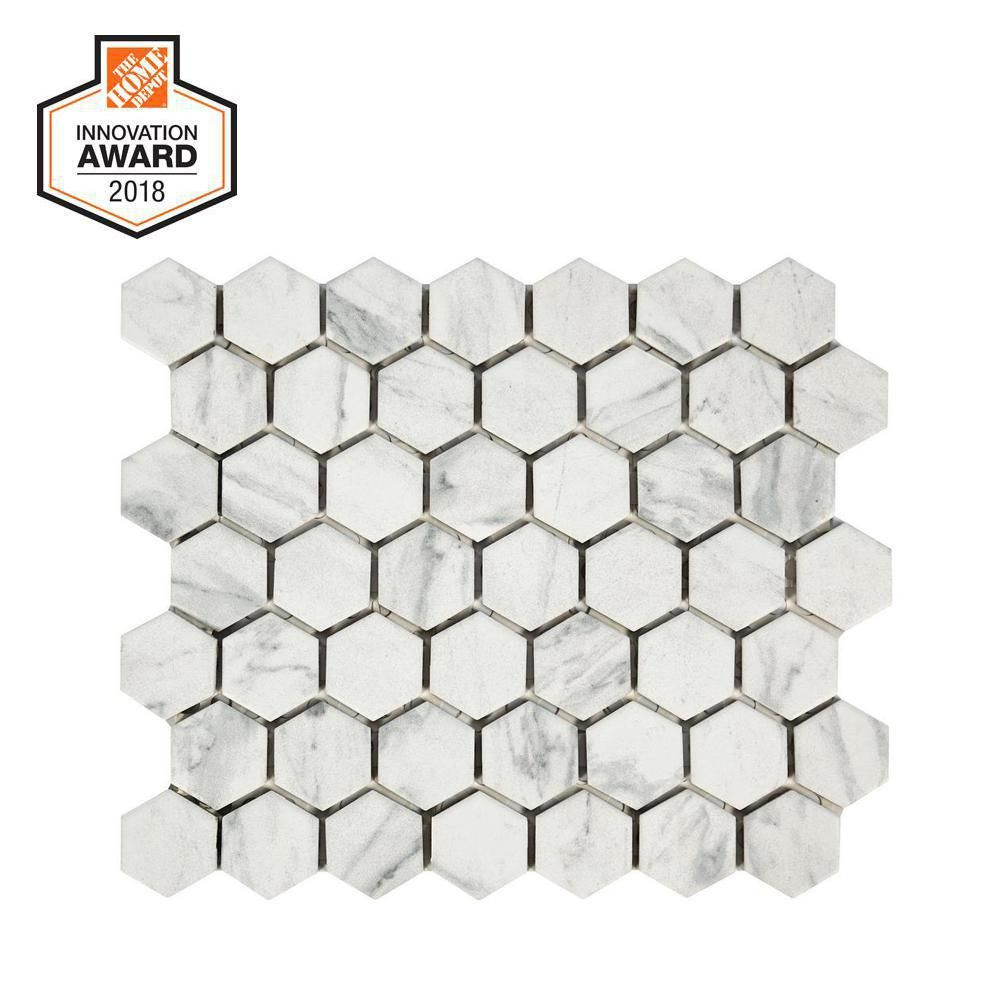 Lifeproof Carrara 10 In X 12 In X 6 35mm Ceramic Hexagon Mosaic Floor And Wall Tile 0 81 Sq Ft Piece Lp5015hexhd1p2 The Home Depot Hexagonal Mosaic Hexagon Mosaic Floor Marble Wall Tiles