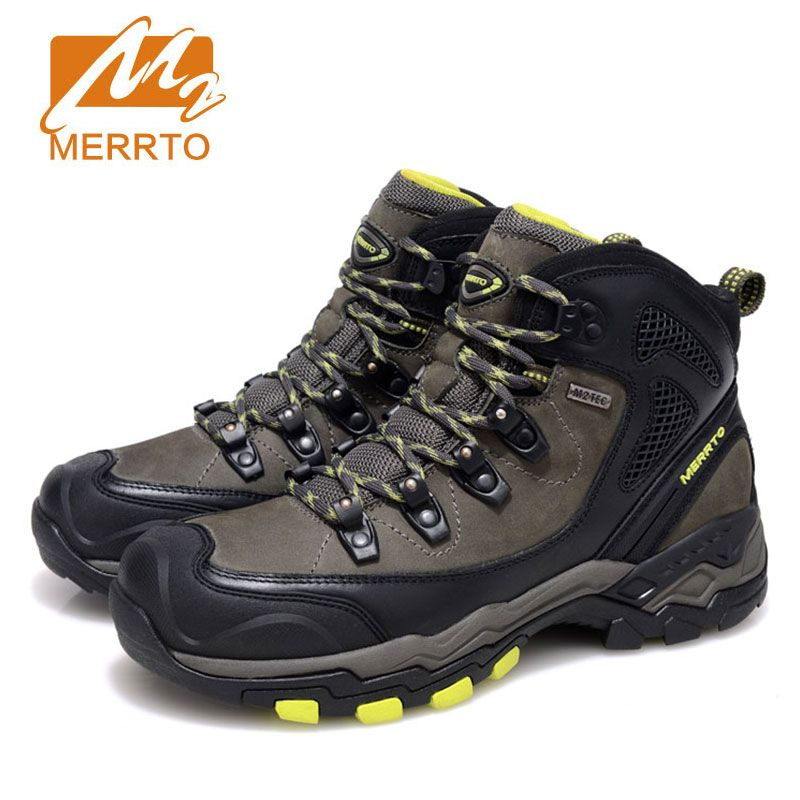 4cd338e1819 2017 MERRTO Men Hiking Shoes Cowhide Hiking Boots Rubber Sport ...