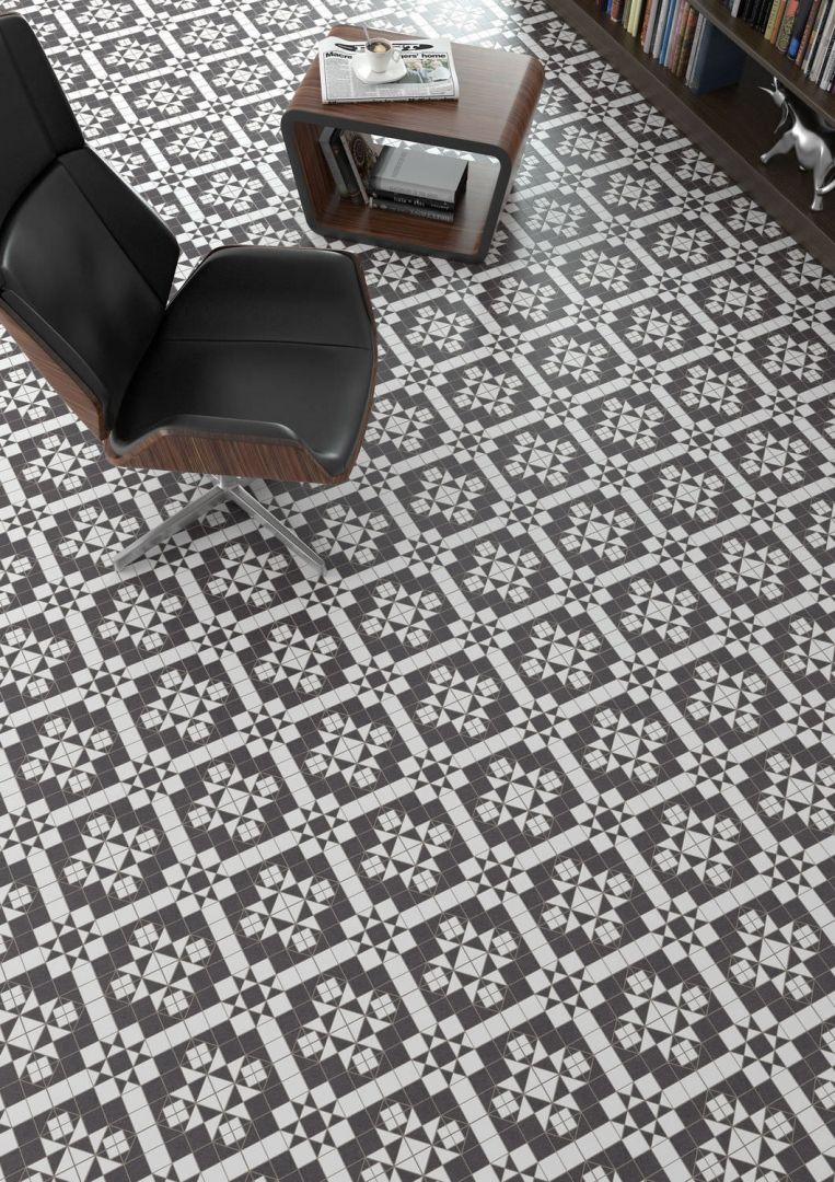Black And White Vintage Tiles Tile Floor Patterned Floor Tiles Flooring