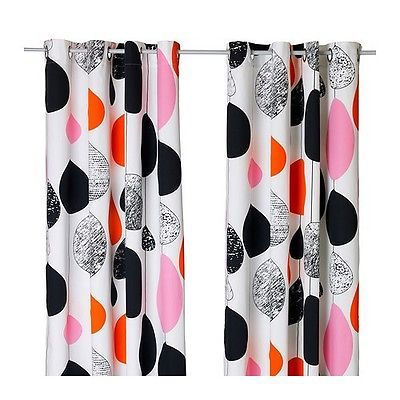 """1 Pair IKEA SOMMAR 2018 Curtains Black /& White 98/"""" x 57/"""" New in Package"""