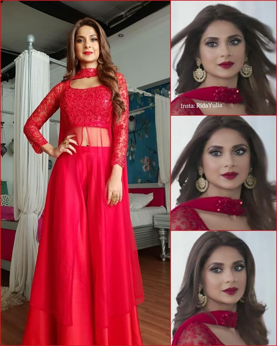 Watch Out For This Stunning Lady In Red Tonight On Colors At 9 30pm Makeup By Sonamvaghani Jenniferwi Stylish Dresses Designer Dresses Indian Bollywood Dress
