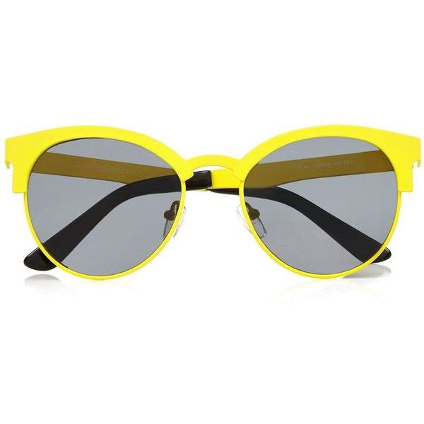 River Island Yellow metal frame retro sunglasses (8.14 CAD) ❤ liked on Polyvore featuring accessories, eyewear, sunglasses, glasses, retro eyewear, retro style sunglasses, retro style glasses, river island and retro sunglasses
