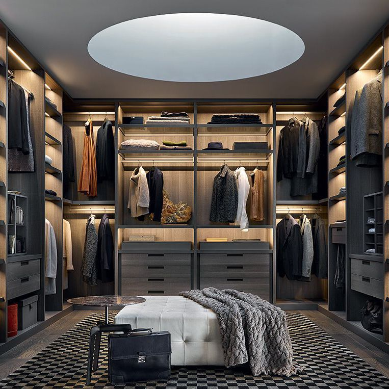 Contemporary walk in wardrobe / melamine / with sliding ...