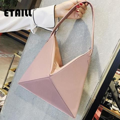 ETAILL Cool Triangle Solid Shoulder Bags Hobos Designer Bags For Women  Fashion Ladies PU Leather Single Shoulder Fold Over Bags 1608fee110