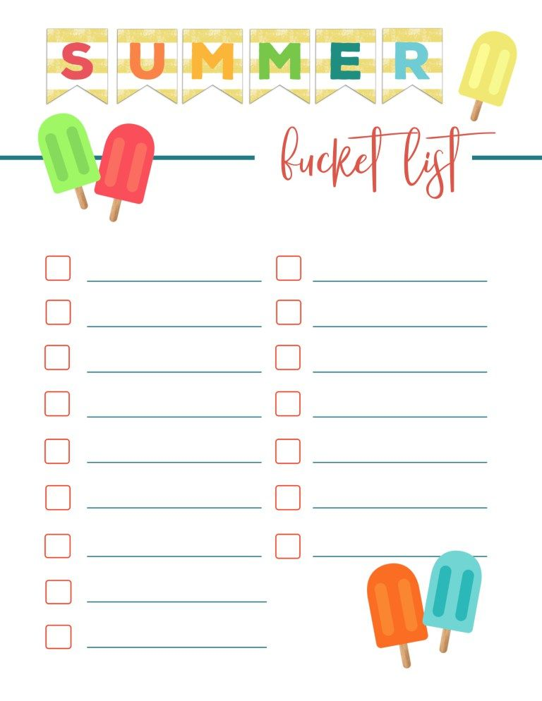 Free Printable Summer Bucket List Ideas Template With Images