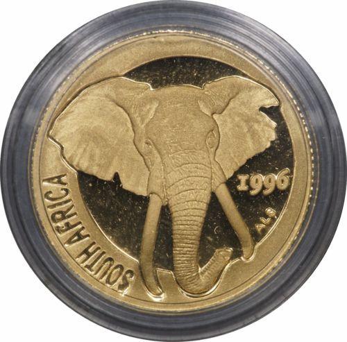 1996 South Africa 1 10 Oz Gold Natura Elephant In Capsule W Coa
