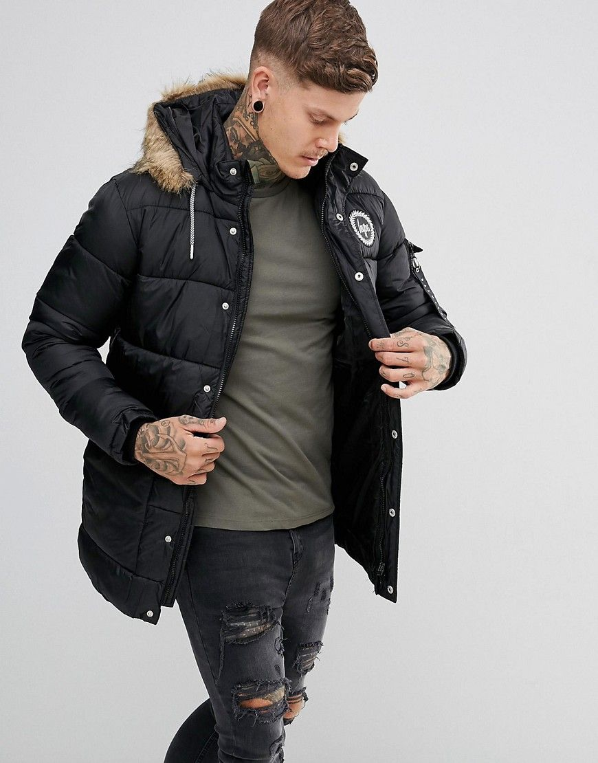 91f1b0a279a0 Hype Padded Parka In Black With Faux Fur Hood - Black