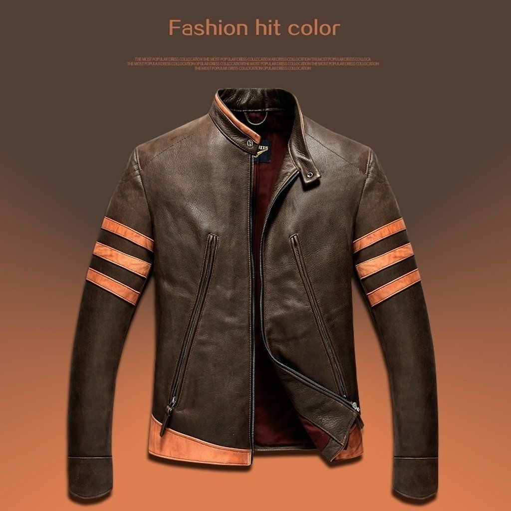 76d37078b The New Men 's PU Leather Jacket Personality Motorcycle Jacket Large ...