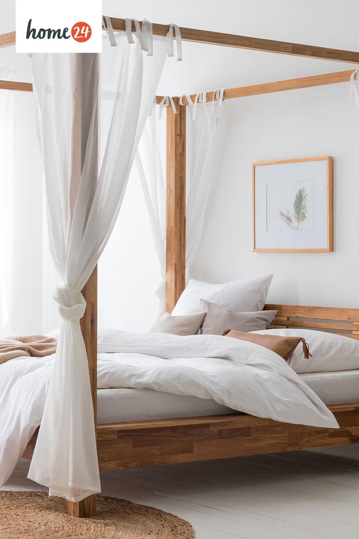 Natur pur im Schlafzimmer mit Himmelbett und neutralen Farben in 2021   Schlafzimmer einrichten ...
