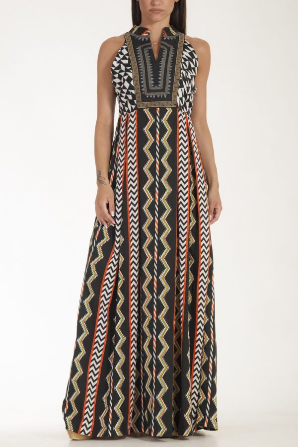 869c90bb592 Φόρεμα μαύρο μακρύ με κέντημα Aztec στο στήθος και γεωμετρικά σχέδια  γυναικείο glamorous