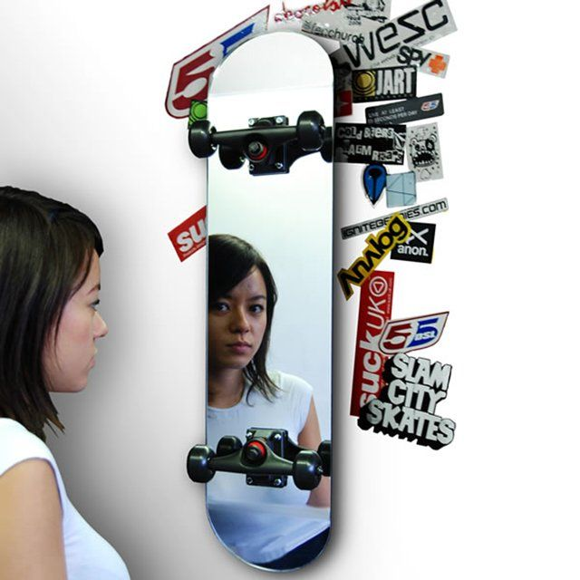 Useful Products Made From Repurposed Skateboards | Skate Mirror...I LOVE Mirrors!!