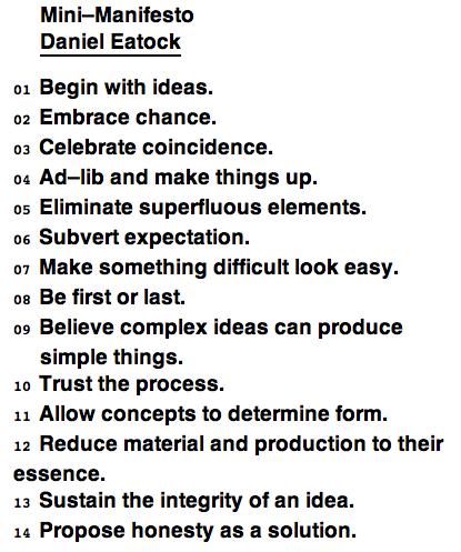 Daniel Eatock Mini Manifesto Manifesto Brand Manifesto Manifesto Design