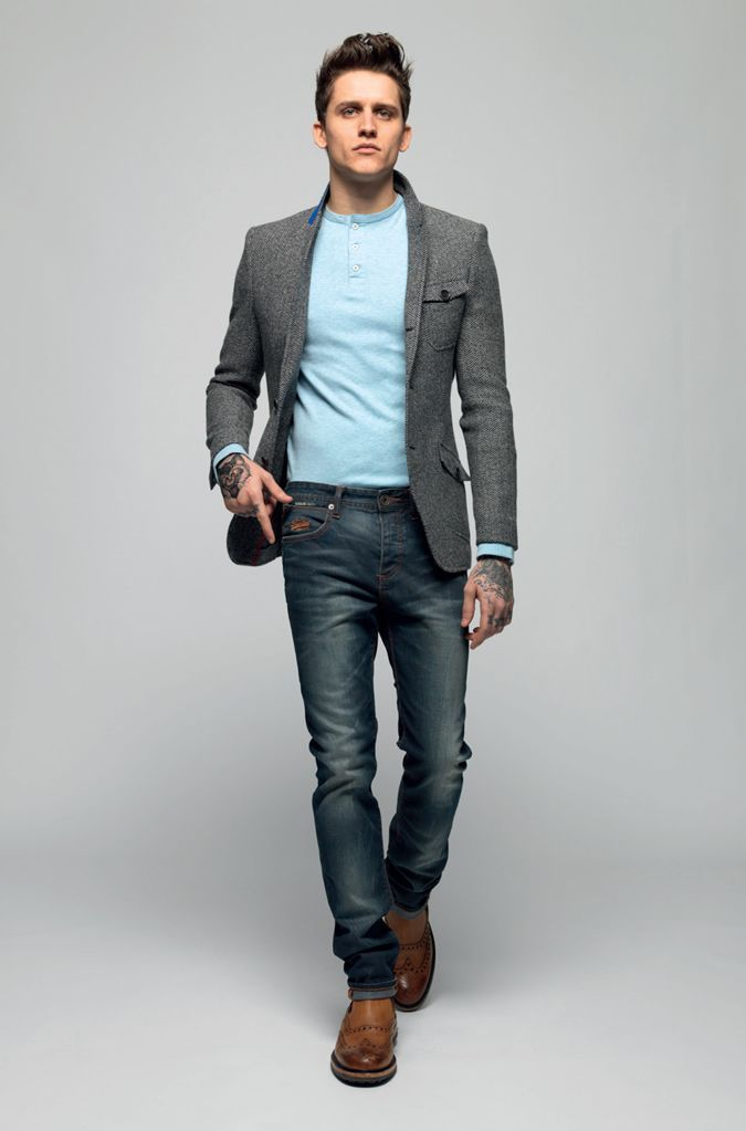 Men's Grey Wool Blazer, Light Blue Henley Shirt, Navy Jeans, Brown ...