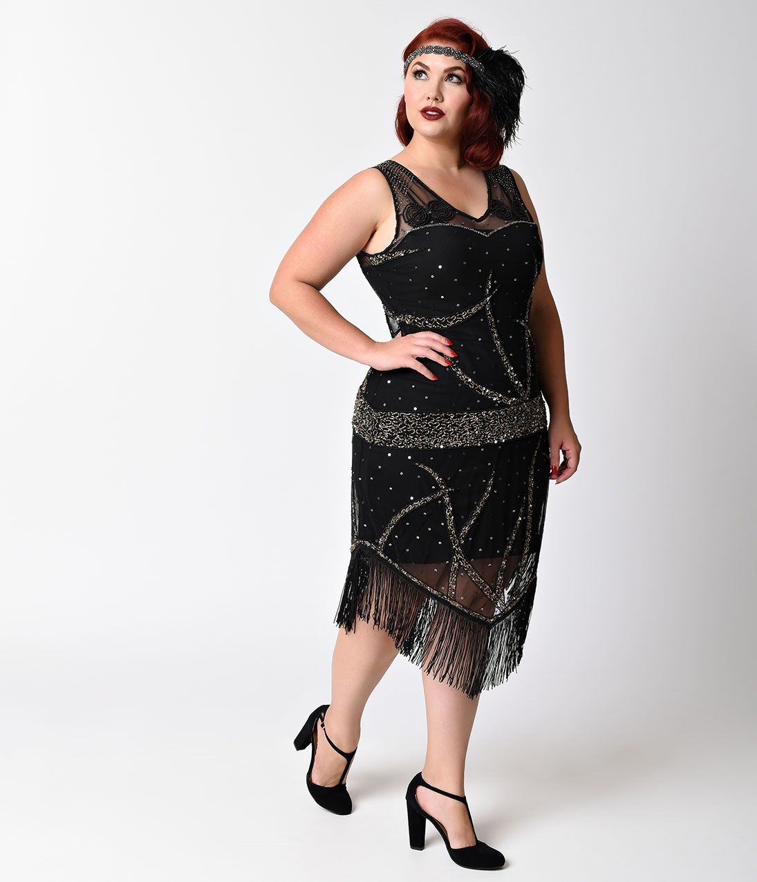 Vintage beaded dress plus size