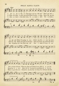 vintage sheet music, jolly santa claus song, old fashioned christmas music, free music graphic ...