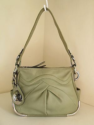 B. Makowsky Green Leather Pleated Top Zip Shoulder Bag Silver Hardware Purse