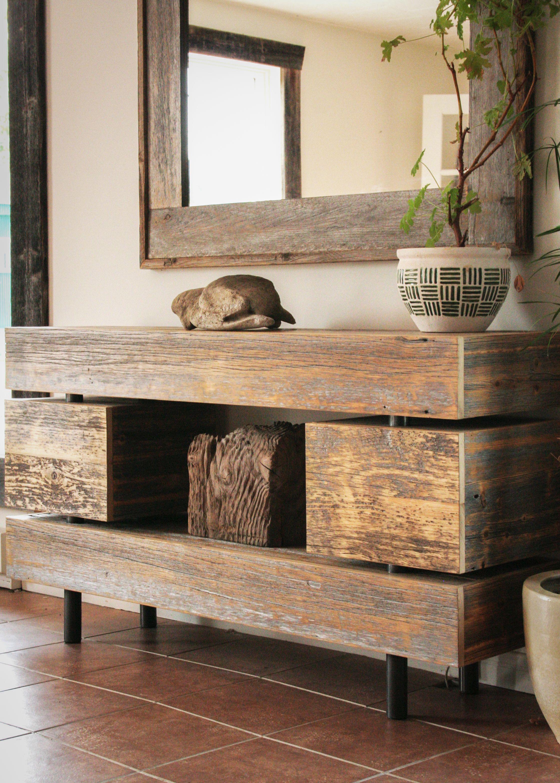 Meuble t l en bois de grange deco pinterest meuble for Meuble tele en bois