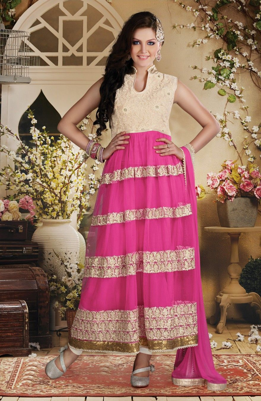 Candy pink and cream tiered zari suit