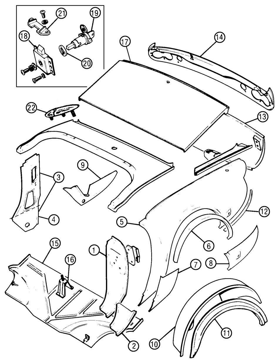 rear body / trunk - body panels & structure - triumph spitfire | moss motors