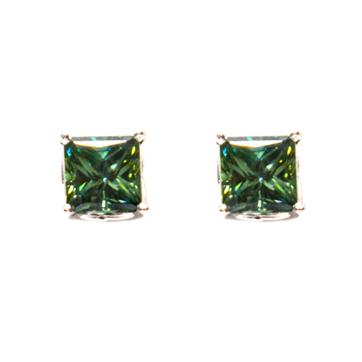 gold classic charles tgw stud brilliant colvard pin square moissanite earrings