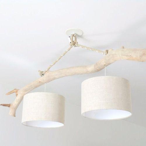 Lustre bois flotté - lin 28cm - double suspension - led - plafonnier - luminaire fait main en ...