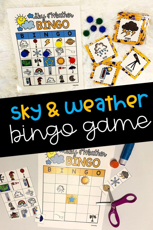 Sky and Weather Bingo Game in 2020 Bingo games, Weather