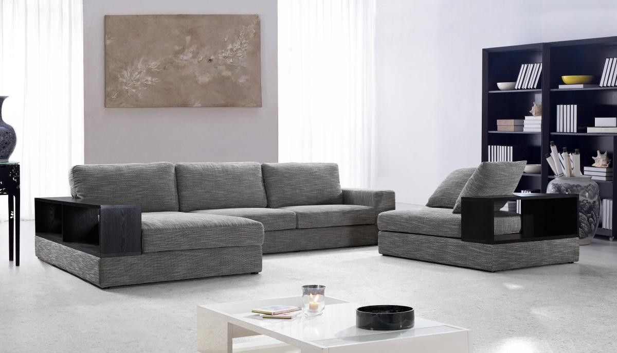Images Of VIG Furniture VG2T0739 Anthem Grey Fabric Modern Sectional With  Wood Shelves | AppliancesConnection.