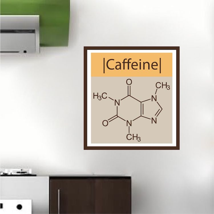Caffeine Molecule Wall Mural Decal | Wall mural decals ...