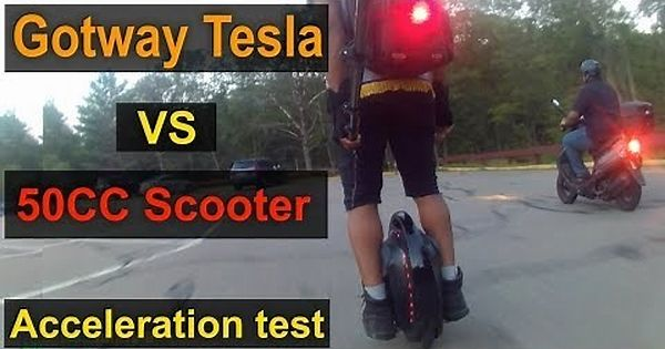 Gotway Tesla 1020wh Vs 50 CC Moped Scooter - Acceleration Test - (NO