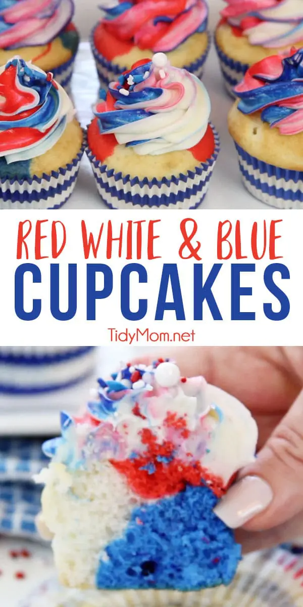 If you are looking for patriotic cupcakes for your next party, these Red White and Blue Cupcakes are sure to spark their attention and earn salutes at any Memorial Day and 4th of July celebrations. Step-by-step directions and recipe + video at TidyMom.net #cupcakes #patriotic #redwhiteandblue