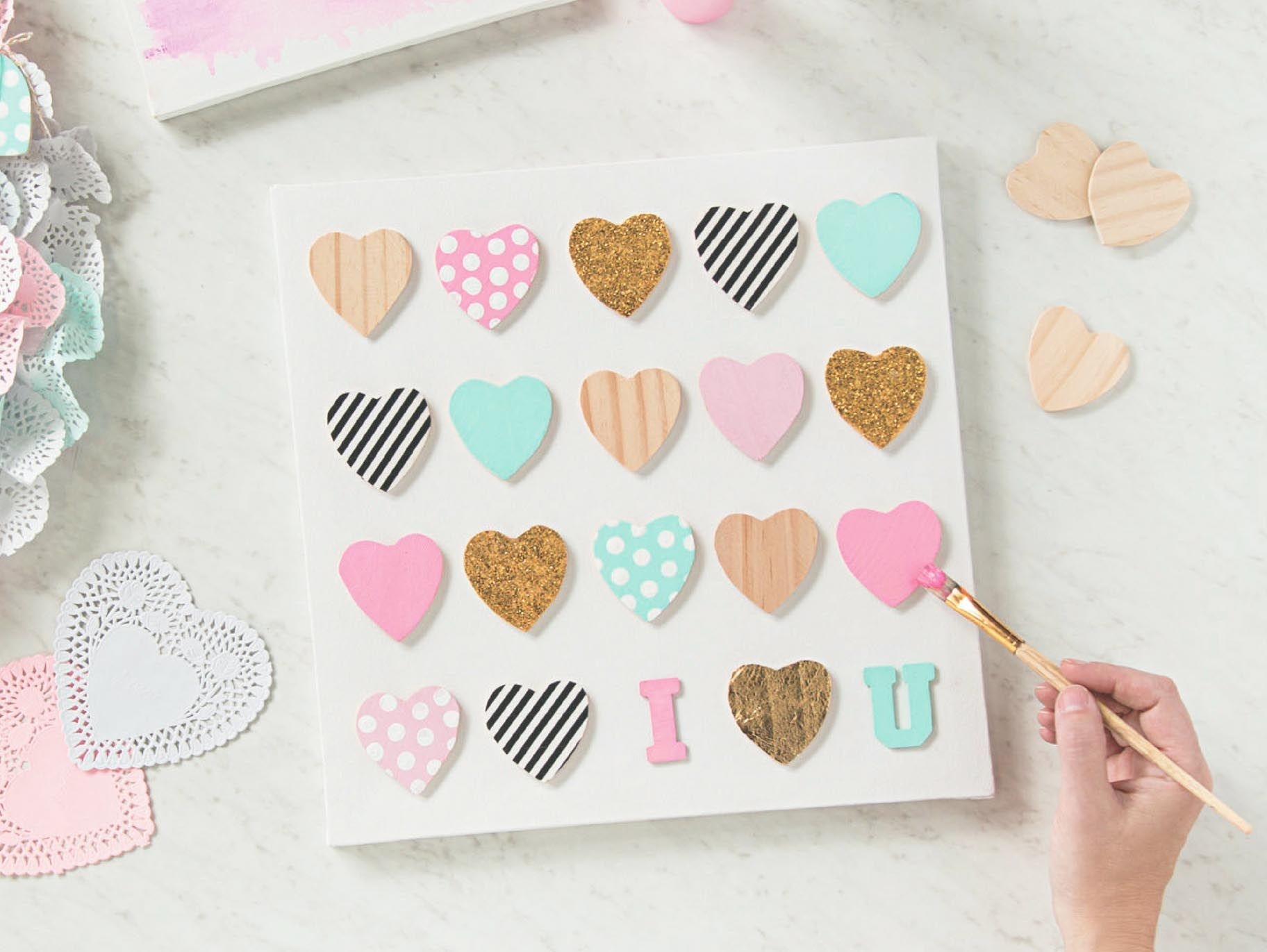 Diy Mini Wooden Heart Canvas Wooden Hearts Crafts Wood Heart Crafts Crafts