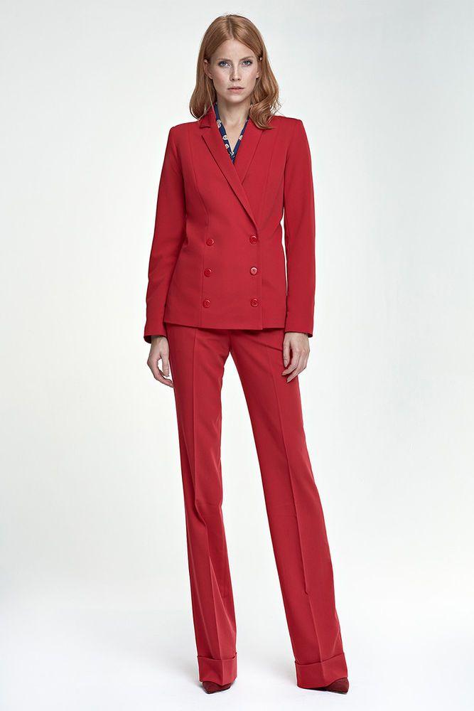 640105190aa Ensemble tailleur costume femme élégante pantalon + veste rouge mode ...