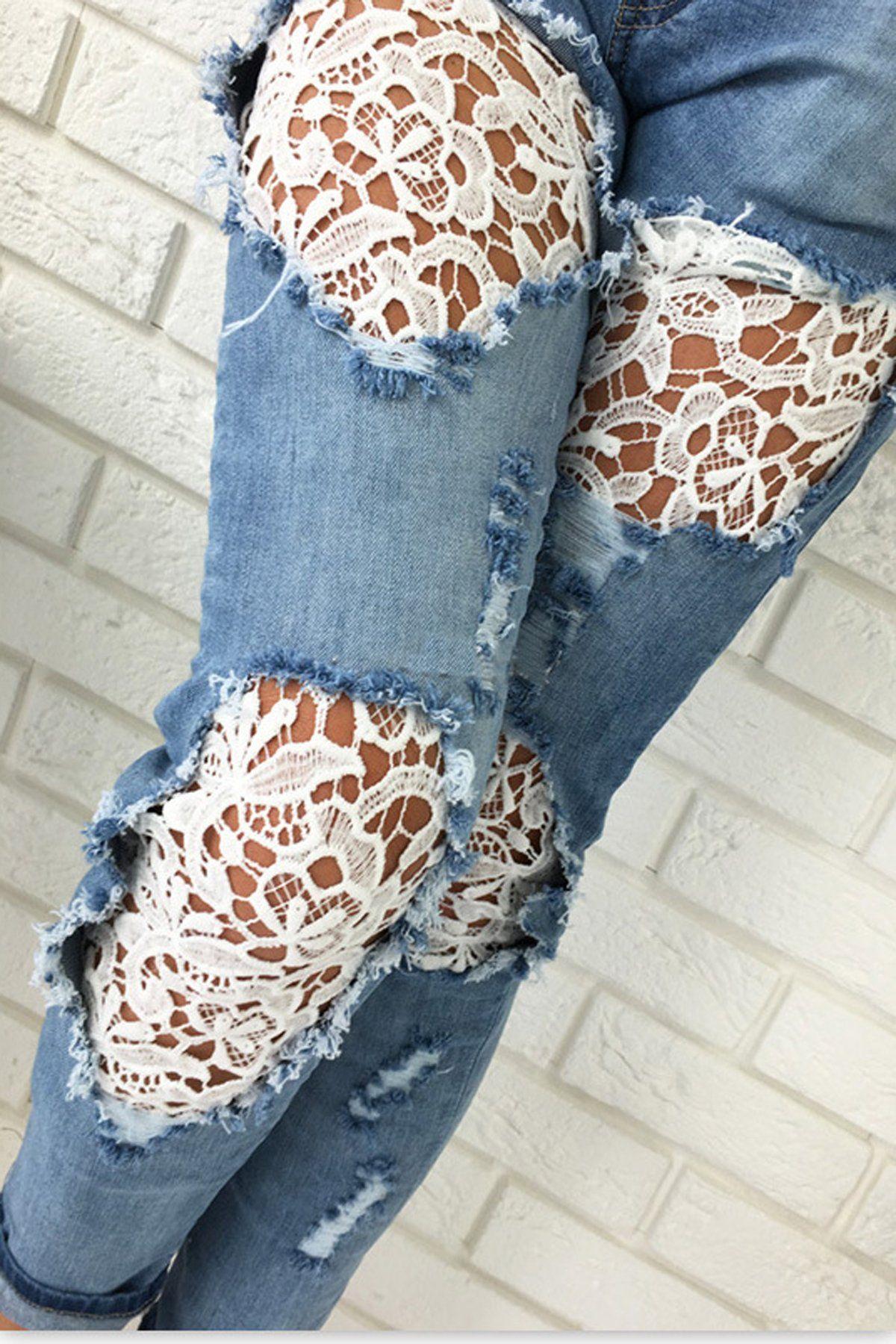 Photo of Lace Denim Patchwork Klipp ut lange mager jeans