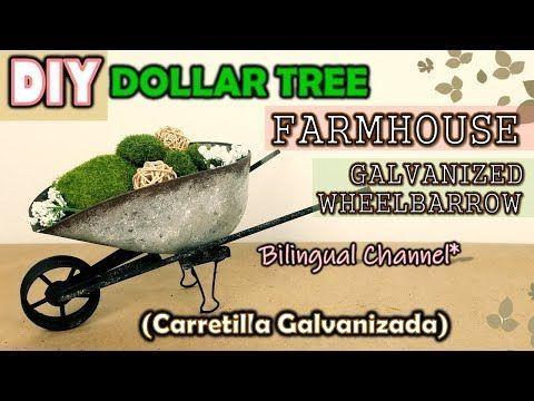Dollar Tree DIY FARMHOUSE DECOR | GALVANIZED WHEELBARROW | English CC | Carretilla Galvanizada,  #Carretilla #Decor #DIY #Dollar #English #Farmhouse #Galvanizada #Galvanized #Tree #Wheelbarrow
