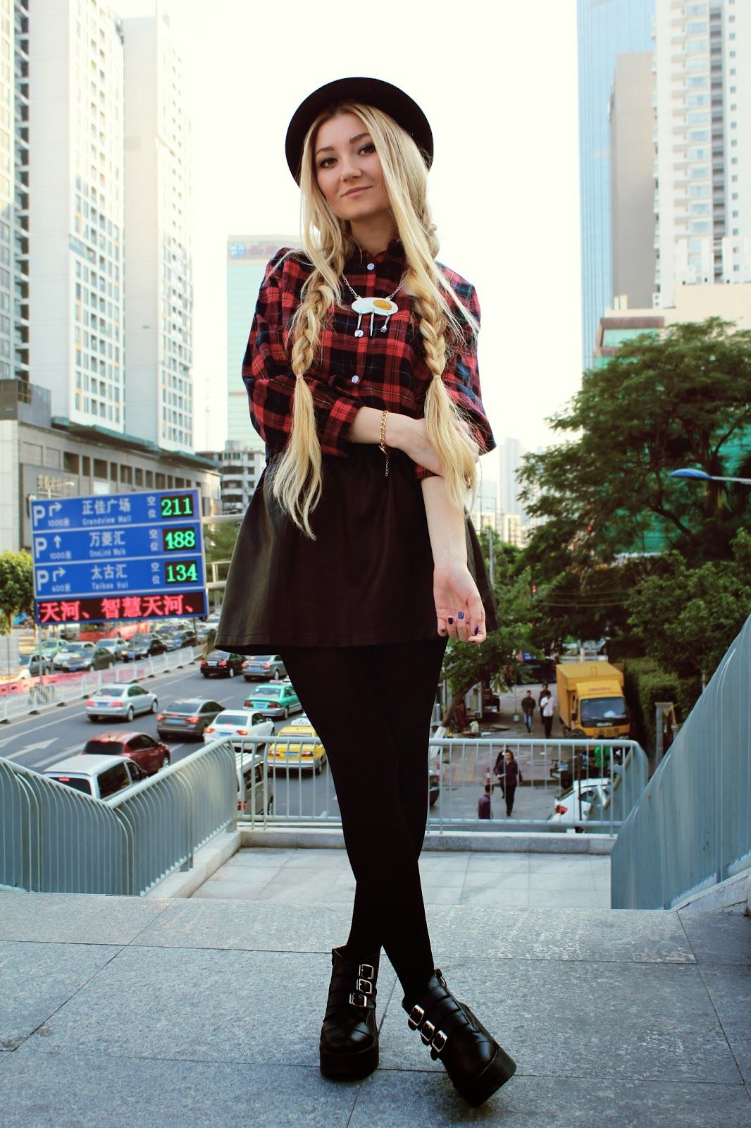 women 39 s red plaid button down blouse black leather skater skirt black leather ankle boots. Black Bedroom Furniture Sets. Home Design Ideas